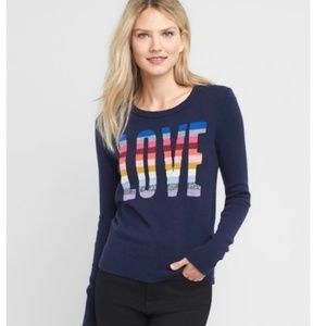 Gap Navy Rainbow Love Sweater